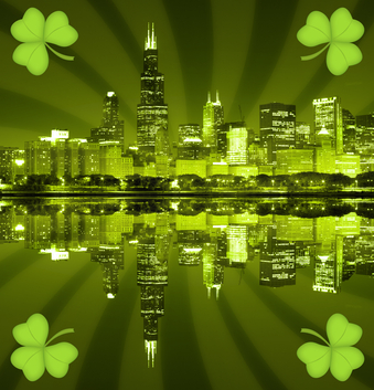 St patrick's day city background