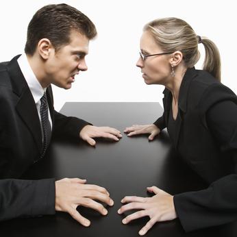 Man against woman.