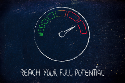 speedometer as symbol of reaching your goals fast, reach your full potential