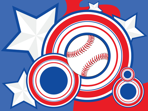 Stylized background illustration with a baseball, circles and stars representing the colors of the United States of America