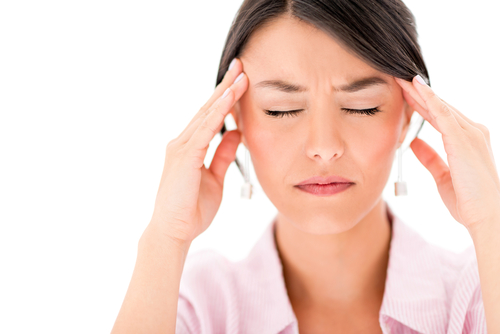 Frustrated woman with a headache